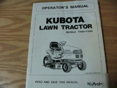 Kubota T1460 T1560 Lawn Tractor Operators Manual